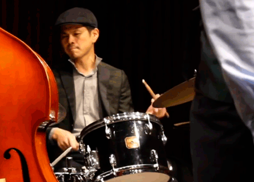 Drummer Daisuke Kurata performing with Dewayne Oakley Blues Ensemble, Nagoya, Spring 2018
